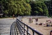 Woman on boardwalk