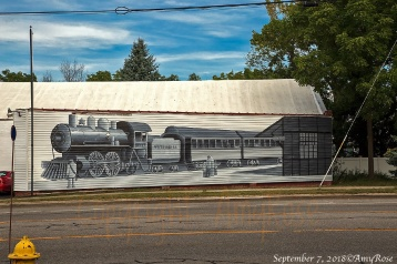 This is where the Clarence railroad station used to stand. Some very talented artist painted this train on the existing side of the building.